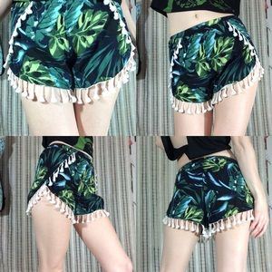 LF Shorts - SOLD PAPER HEART Tassel Fringe Tropical